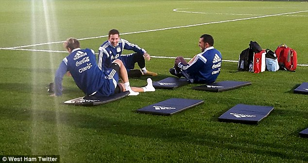 Tevez shared a laugh on the West Ham pitch ahead of their game against Croatia on Wednesday night