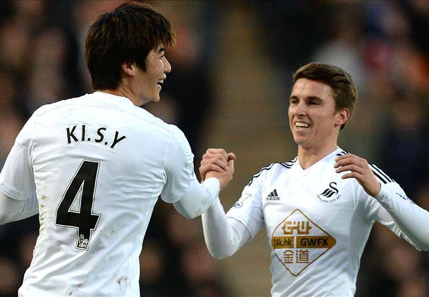 Ki celebra el 0-1 del Swansea en el KC Stadium. Foto: Premier League