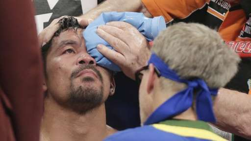 Pacquiao (pictured) had an ice pack