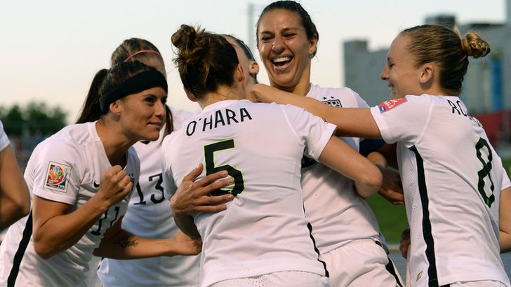 USA celebrate their goal against Canada in the Women's World Cup