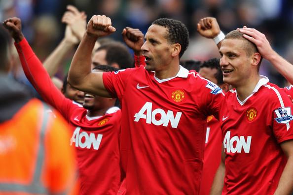 Ferdinand and Vidic celebrate