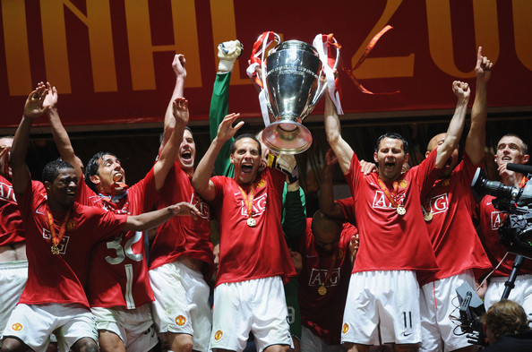 Ferdinand lifts the UEFA Champions League in 2008