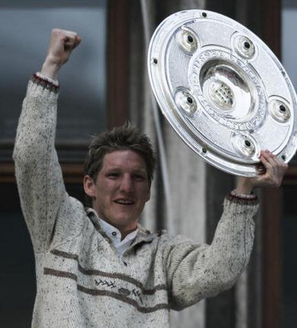 Schweinsteiger celebrating Bayern's Bundesliga triumph at their party celebration