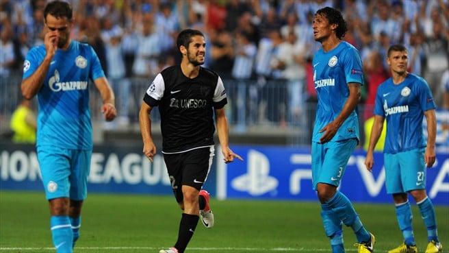 Isco, autor del primer gol del Málaga en la historia de la Champions League