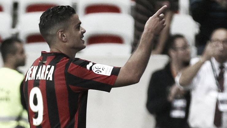 Hatem Ben Arfa celebrates for Nice after leaving Newcastle United
