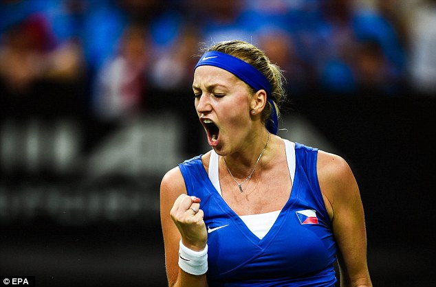 Petra Kvitova celebrates during her win over Pavlyuchenkova (Source : http://i.dailymail.co.uk/i/pix/2015/11/14/17/2E70B38B00000578-0-image-a-1_1447522988415.jpg)