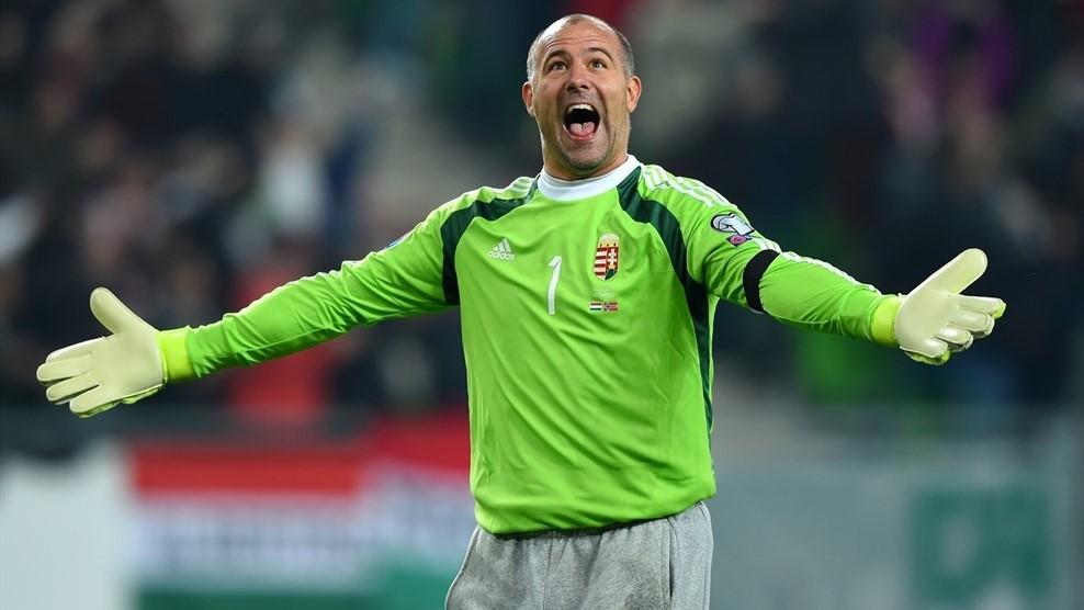 Legendary stopper Gabor Király enjoyed his side's opening goal. (Image credit: UEFA)