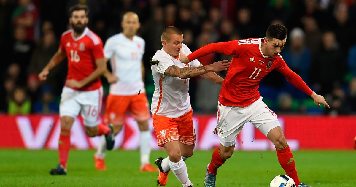 Tom Lawrence making his full debut for the Welsh national team (Photo: Getty)