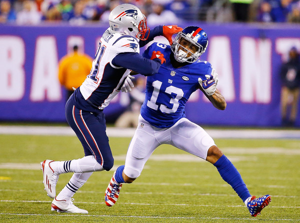 Odell Beckham makes a moves against the New England Patriots