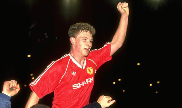Mark Robins during his time at Manchester United