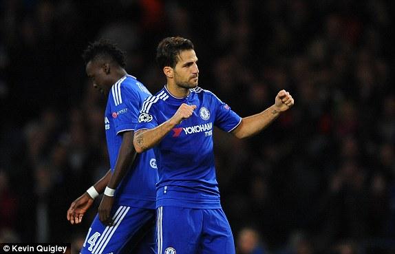 Fabregas celebrates scoring the fourth at Stamford Bridge (photo: kevin quigley)