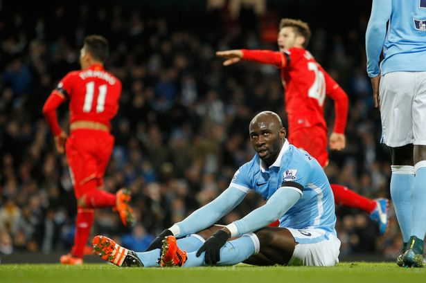 Eliaquim Mangala (pictured, on ground) looks on in dismay as Liverpool strike again