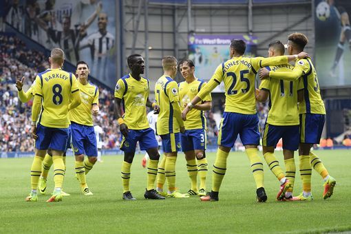 Everton celebrate after Mirallas goal. Photo: Liverpool Echo