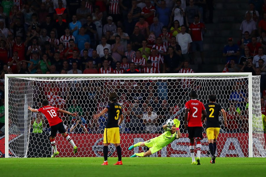 Jan Oblak saved Andres Guardado's penalty. Photo: Atletico Madrid Twitter