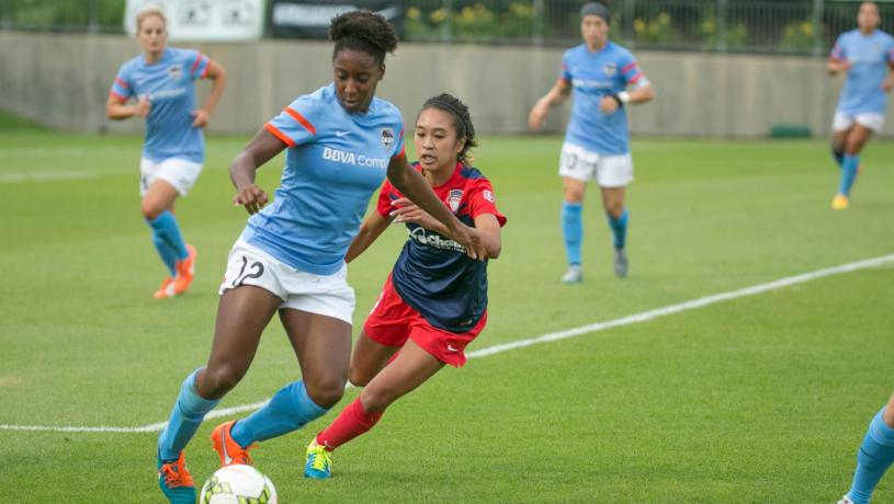 In 3-1 win against Houston Dash Cparice chases down oppenent to defend l Source: Houstondynamo.com