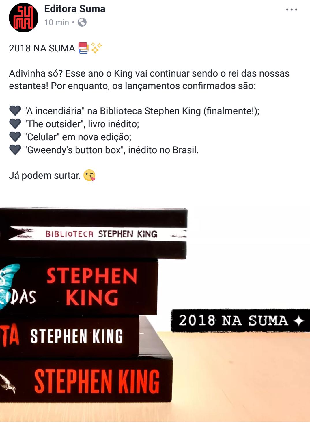 Editora publicou em sua redes sociais os lançamentos de Stephen King para 2018. (Reprodução Facebook)
