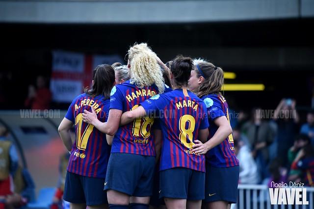 Celebración del gol conseguido ante el Bayern de Múnich en el partido de vuelta de las semifinales de la UEFA Women's Champions League   Foto de Noelia Déniz, VAVEL