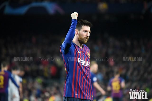 Leo Messi celebrando un gol en el partido de ida de las semifinales de la UEFA Champions League, disputado ante el Liverpool Football Club de Jürgen Klopp en el Camp Nou   Foto de Noelia Déniz, VAVEL