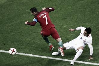 Cristiano Ronaldo salta secco Gonzalo Jara in uno scatto del match.   Squawka Football, Twitter.
