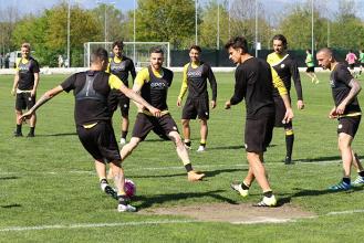 I giocatori in allenamento.