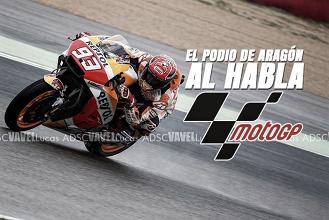 El podio de MotoGP al habla: triplete español en Aragón
