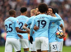 L'esultanza dei giocatori del City dopo il parziale 0-1 di oggi. | Manchester City, Twitter.