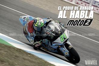 El podio de Moto2 en Aragón, al habla: Morbidelli gana y es más líder