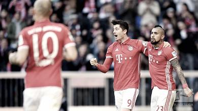 La gioia di Lewandowski, che ha raggiunto quota 100 gol con il Bayern. Foto: Twitter