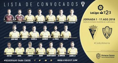 Lista de convocados para el Cádiz - Almería