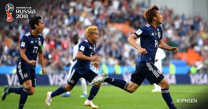 Il Giappone esulta per il primo gol. Fonte: https://twitter.com/fifaworldcup