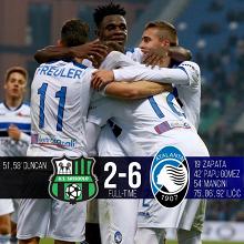 Serie A- Volevamo lo spettacolo ed eccolo. vince l'Atalanta 6-2 al Sassuolo