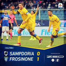 Serie A-La Sampdoria prende una brutta sconfitta contro il Frosinone a Marassi(0-1)