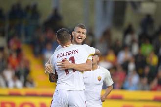 Roma, basta l'asse Dzeko-Kolarov col Benevento, è 4-0 al Vigorito
