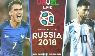 Terminata Francia - Argentina, LIVE Mondiali 2018 (4-3): Bleus ai quarti, offre Mbappé!