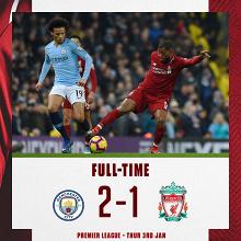 Premier League- Il City riapre la Premier e batte 2-1 il Liverpool
