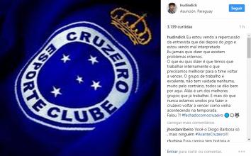 Por declaração polêmica após eliminação na Sul-Americana, Hudson se retrata nas redes sociais