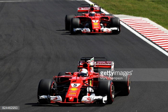 Hungarian GP: Raikkonen denied as Vettel leads Ferrari 1-2