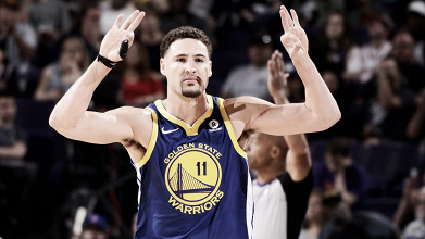 Klay Thompson, 34 punti a Phoenix. Fonte: Golden State Warriors/Twitter