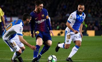 هاتريك ميسي يقود برشلونة للفوز أمام ليجانيس