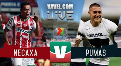 Necaxa vs Pumas en vivo online en Apertura 2017 Liga MX (0-0)