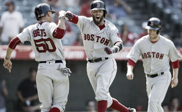 Boston Red Sox score five runs in ninth inning to lead to 5-3 victory over the Los Angeles Angels