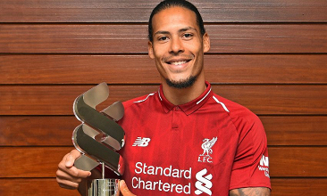 Virgil van Dijk named Liverpool's August Player of the Month