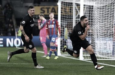 Neil Maupay shushing the Palace fans. | Photo: SussexLive