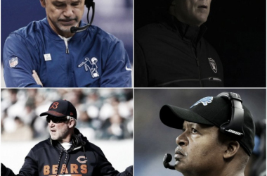 From clockwise top left: Chuck Pagano, Jack Del Rio, Jim Caldwell, and John Fox all recently were fired from their jobs (NFL.com)