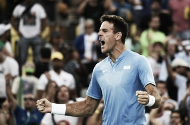 Juan Martin Del Potro reacts after defeating Joao Sousa to reach the third round of the Olympics/Photo: Martin Bernetti/AFP