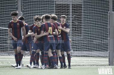 El FCB Cadete A celebrando un tanto en la Ciutat Esportiva. Foto: Noelia Déniz, VAVEL