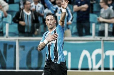 Lucas Barrios atuando pelo Campeonato Gaúcho. Foto: Lucas Uebel / Grêmio FBPA