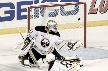 Buffalo's starting goalie lets in another goal in already horrendous season (Photo: Dennis Schneidler/Icon Sportswire)