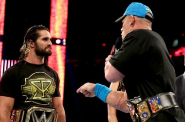The face of Raw and the face of Smakdown, Seth Rollins and John Cena.Credit: WWE.com