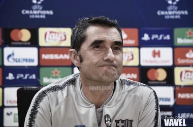 Ernesto Valverde en una rueda de prensa previa a un partido de UEFA Champions League | Foto de Noelia Déniz, VAVEL